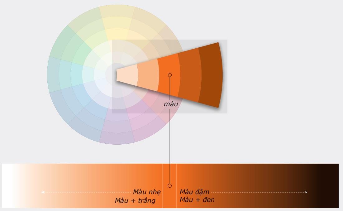 Màu độc sắc là 1 màu duy nhất pha đậm hoặc nhạt