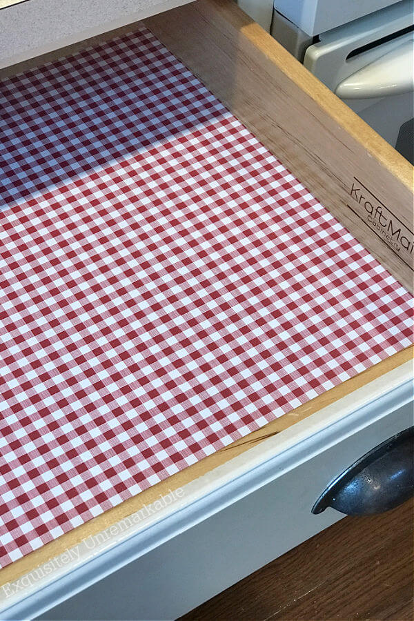 Red Gingham Liner Paper in a drawer
