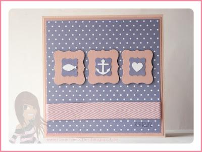 Stampin' Up! rosa Mädchen Kulmbach: Taufkarte Glaube - Hoffnung - Liebe mit Glückswal, Mini-Etikett, Geschwungenes Etikett und Eins für alles