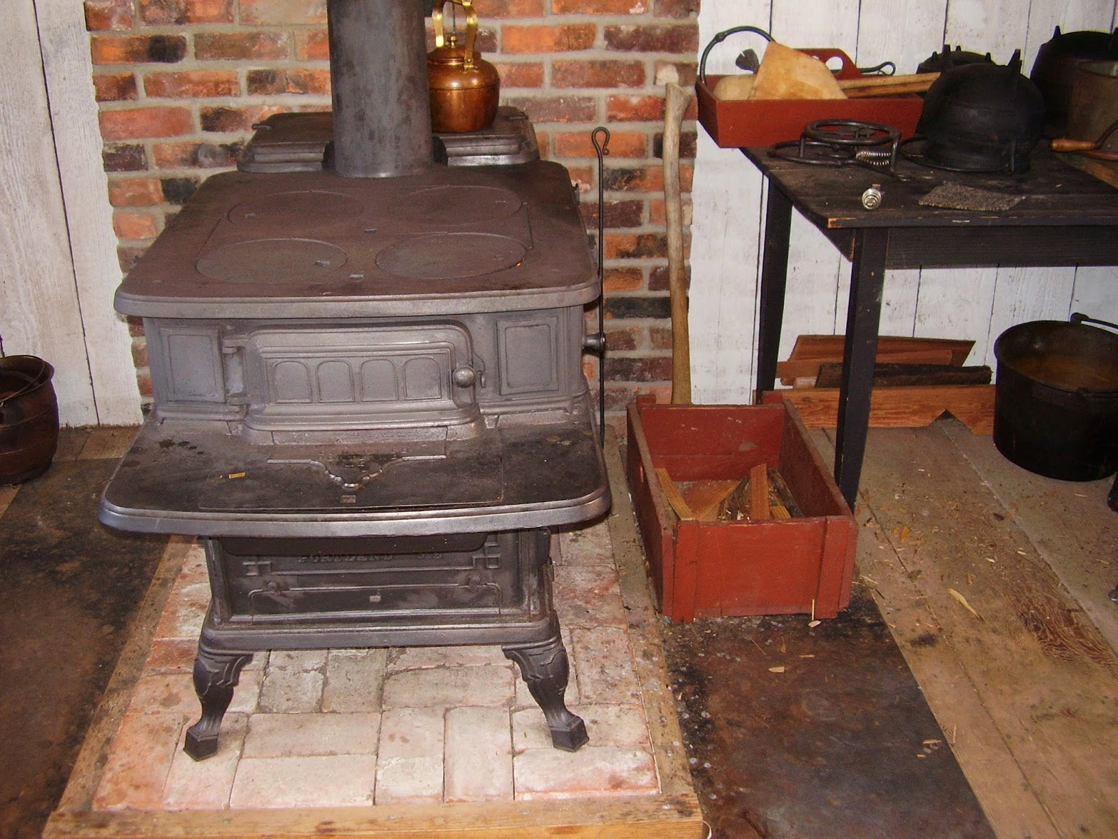 Wood-burning cook-stove, 1850s, at Fort Nisqually.