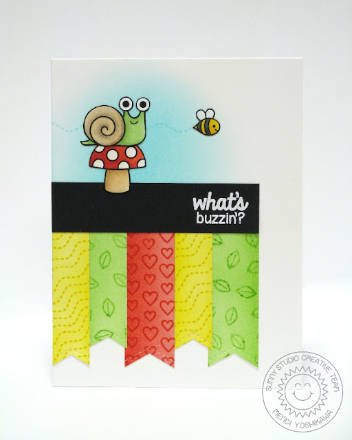 Sunny Studio Stamps Backyard Bugs & Fishtail Banners What's Buzzin? Card