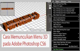 Cara Memunculkan Menu 3D pada Adobe Photoshop CS6