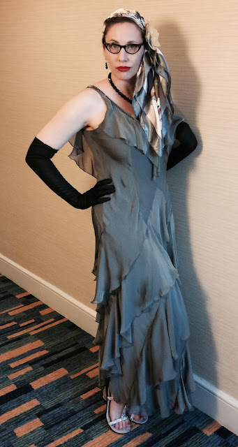 Gail Carriger in Retro 1930s Silver Flapper Cocktail Gown at SDCC