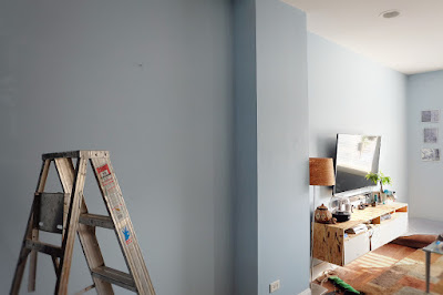 blue paint walls living room family sonata pittsburg color