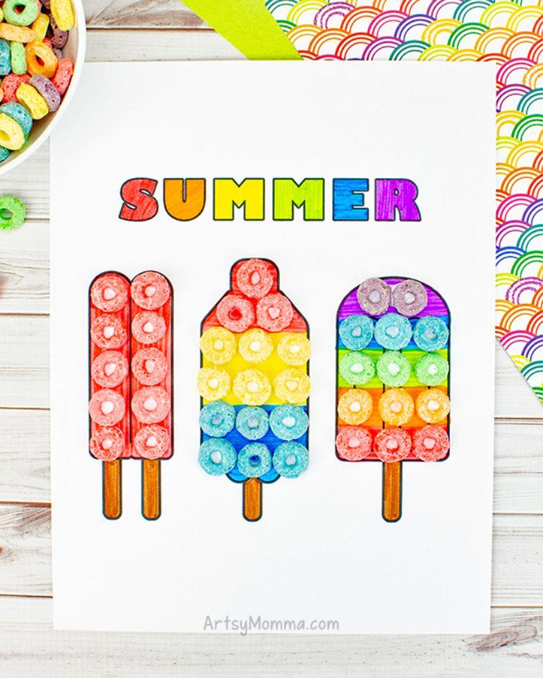 popsicle art  - summer camp craft for kids