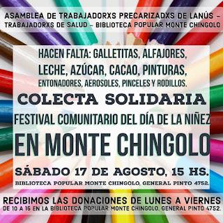 Colecta Solidaria para el Festejo Comunitario del Día de la Niñez en Monte Chingolo