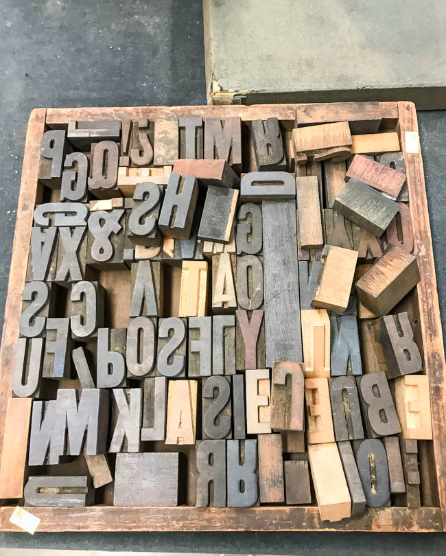 Tray of vintage letterpress letters