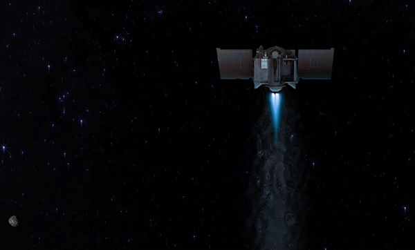 An artist's concept of NASA's OSIRIS-REx spacecraft departing from asteroid Bennu to head back to Earth.