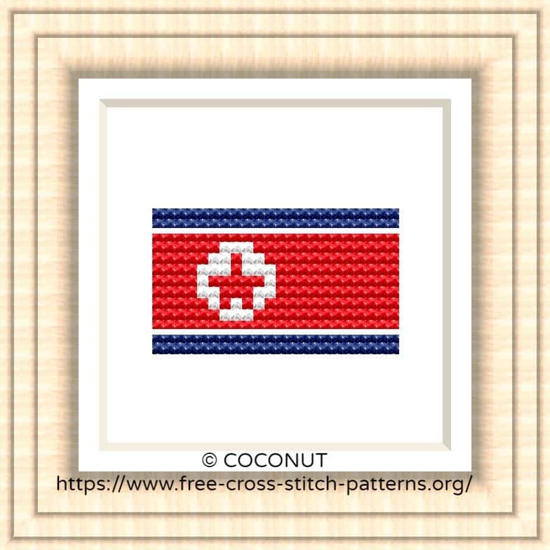 NATIONAL FLAG OF DPR  KOREA CROSS STITCH CHART