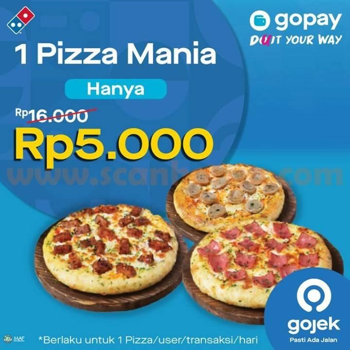DOMINO'S PIZZA Promo 1 Pizza Mania cuma Rp 5.000 bayar pakai Gopay