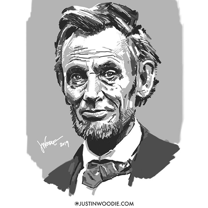 President Abraham Lincoln Digital Sketch Illustration