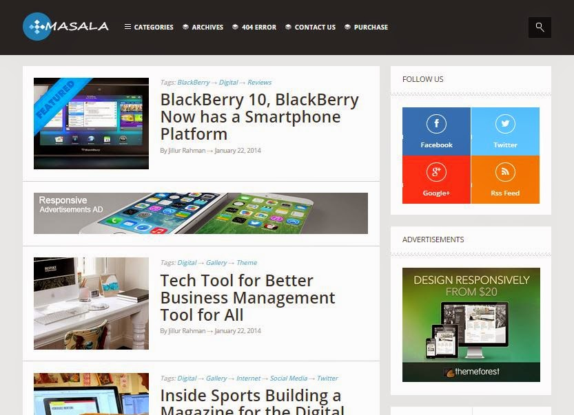 masala blogger Template Download