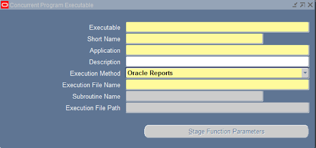 Executables screen in oracle applications