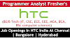 Job Openings In HTC India Apply Now