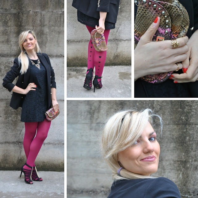 outfit abito pizzo nero abbinamenti abito pizzo calze burgundy con cuori calze con cuori outfit febbraio outfit invernali mariafelicia magno fashion blogger colorblock by felym fashion blog italiani fashion blogger italiane blogger italiane di moda black outfit black lace dress how to wear black lace dress burgundy tights  with hearts