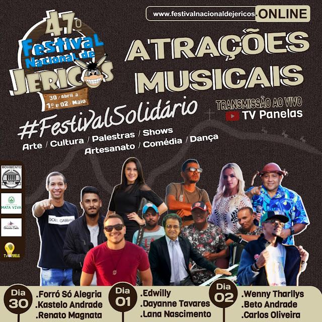 ATRAÇÕES MUSICAIS - FESTIVAL NACIONAL DE JERICOS - FESTIVAL SOLIDÁRIO