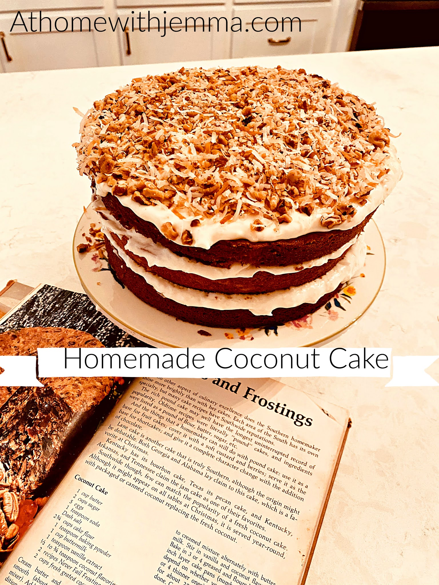 Homemade Coconut Cake With Walnut Frosting