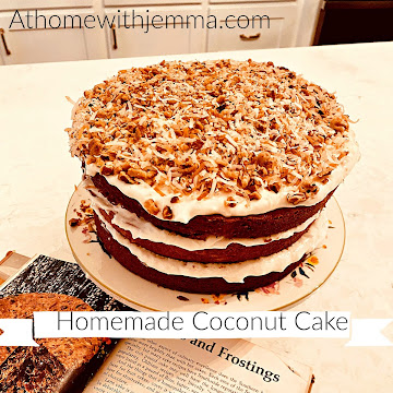 Homemade Coconut Cake With Coconut and Walnut Frosting