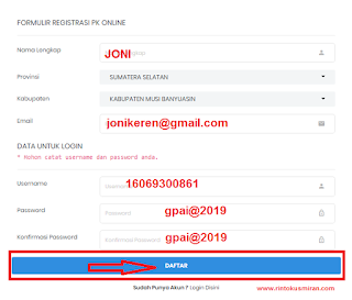Formulir Registrasin PK Online