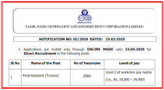 TANGEDCO Field Assistant Model Question Paper 2020 and Syllabus PDF