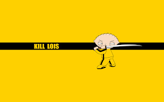 Funny Stewie Griffin with Kill Bill Costume Kill Lois Poster