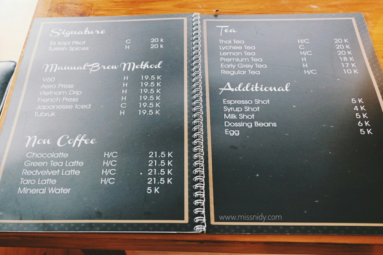 menu pikot coffee