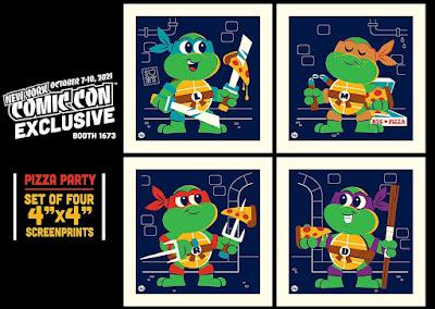 "New York Comic Con 2021 Exclusive Teenage Mutant Ninja Turtles 4""x4"" Screen Print Set by Dave Perillo"
