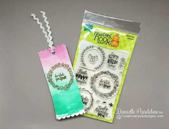 Watercolored Wreath Bookmark by Danielle Pandeline | Happy Little Thoughts Stamp set by Newton's Nook Designs #newtonsnook