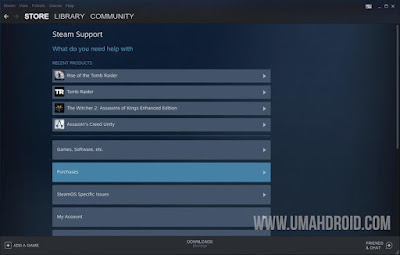Menu Purchase pada Steam Client PC