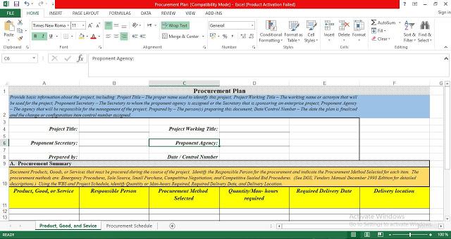 Simple Procurement Plan Template Excel