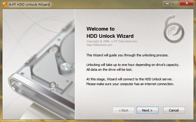 HDD Unlock Wizard Screenshot
