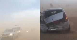 أستاذ يتعرض لحادثة سير خطيرة ضواحي مراكش بسبب الرياح القوية