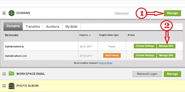 set godaddy custom domain in blogger