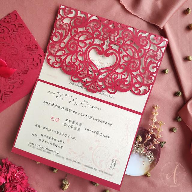 Oriental Red Laser Cut Wedding Invitation Card