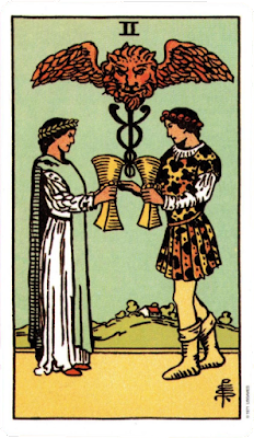 Original Rider Waite Tarot Two of Cups