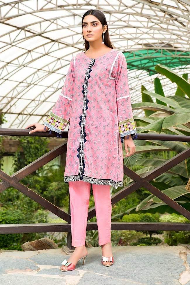 Warda lawn embroidered shirt pink color