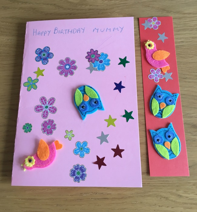 A Birthday Card Even A Toddler Can Make. A card with Happy Birthday Mummy and stickers on it