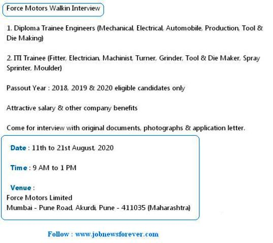 Walkin Job Interview for Diploma Trainee Engineers and ITI Trainee apply here.