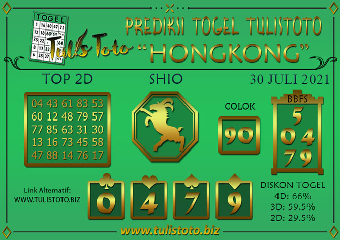 Prediksi Togel HONGKONG TULISTOTO 30 JULI 2021