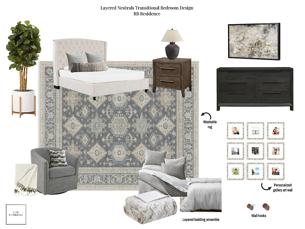 CAD Interiors Layered Neutrals Transitional Primary Bedroom E-Design