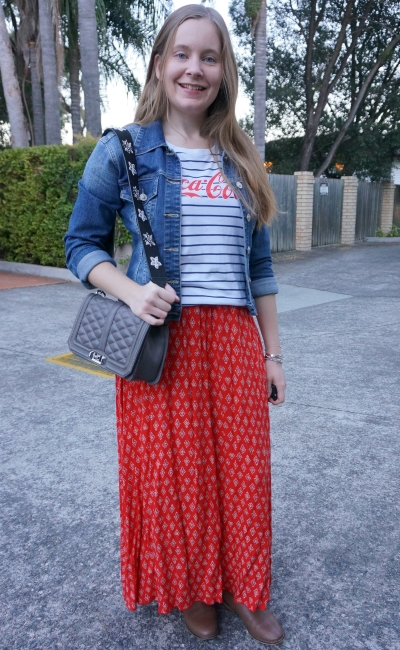 print mixing red maxi skirt outfit with stripe coca cola logo tee ankle boots denim jacket | awayfromblue