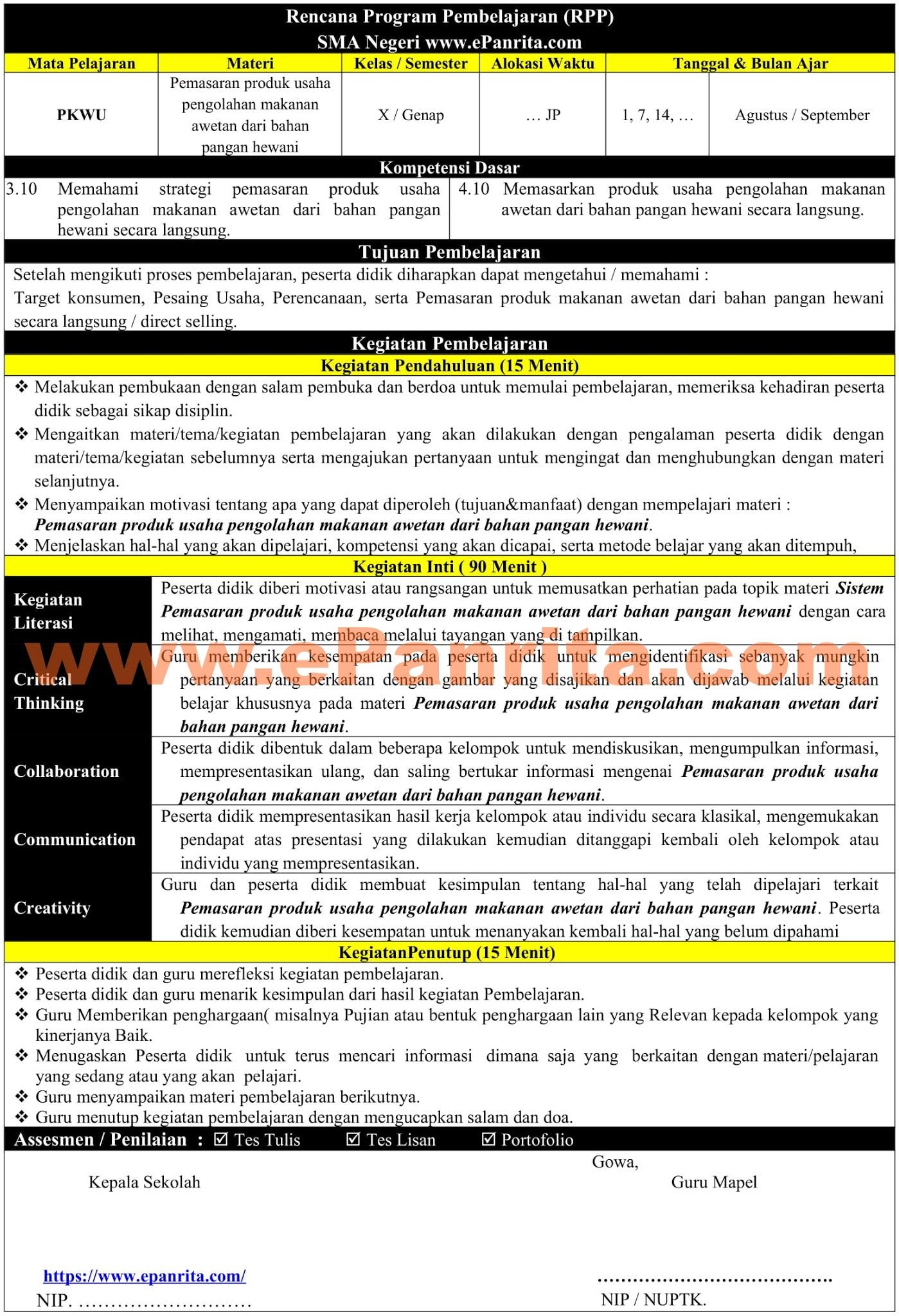 RPP 1 Halaman Prakarya Aspek Pengolahan (Pemasaran produk usaha pengolahan makanan awetan dari bahan pangan hewani)