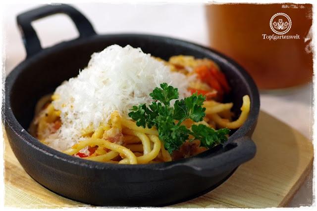 Gartenblog Topfgartenwelt Buchtipp Pasta e basta! Rezept: Spaghettoni all'amatriciana: pasta selber machen mit maschine