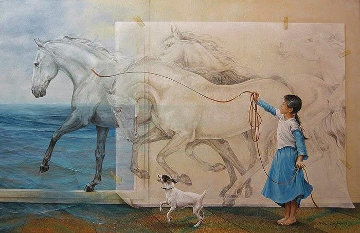 Na Praia - Chelìn Sanjuan e todo encanto em suas pinturas ~ Pintor espanhol