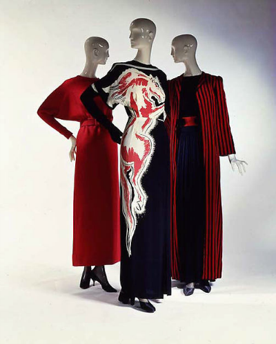 Three dresses on mannequins for Norman Norell Fall/Winter 1954-1955