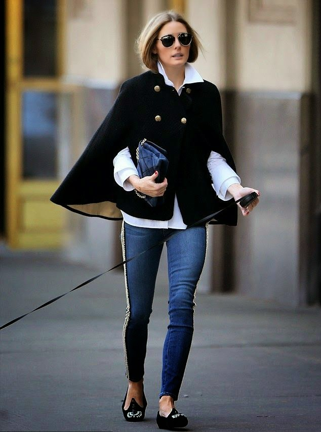 olivia-palermo-black-cape-blue-jeans-outfit