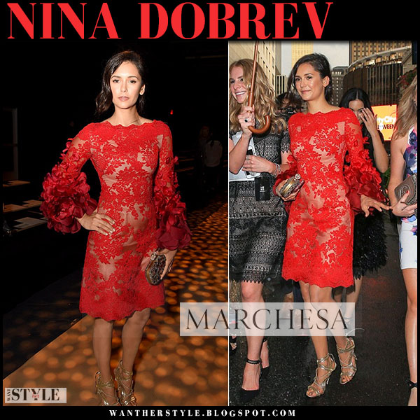 Nina Dobrev in red lace dress and gold sandals marchesa what she wore front row NYFW