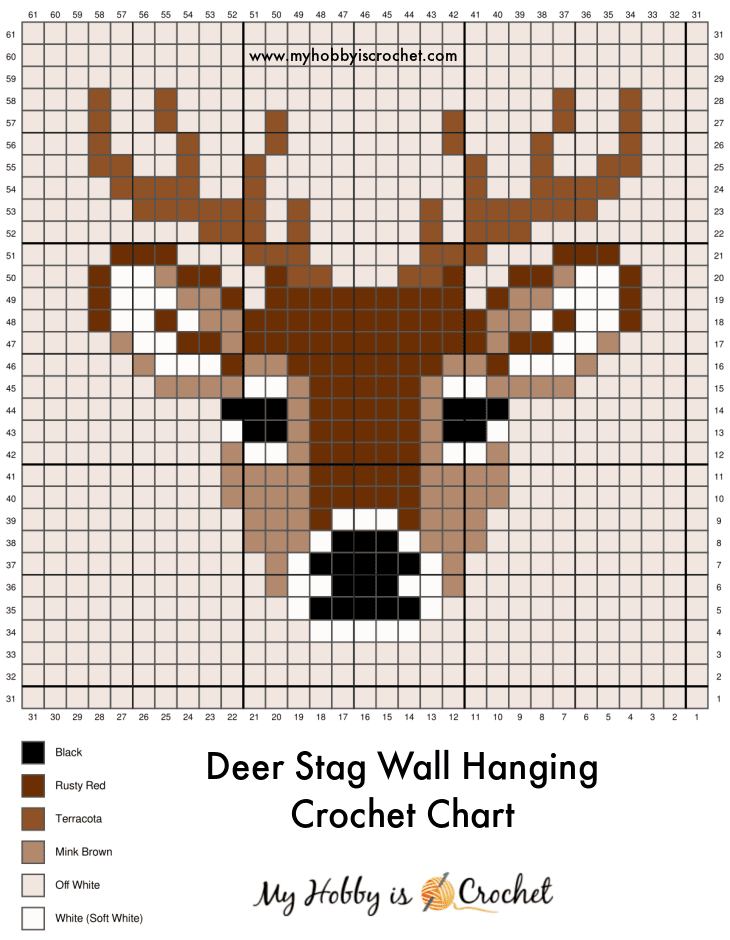 Deer Wall Hanging Crochet Graph in rows