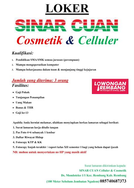 Lowongan Kerja 3 Karyawati Sinar Cuan Cosmetik & Celluler Rembang