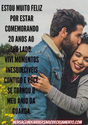 Mensagem de 20 anos de Casamento Bodas de Porcelana Parabéns pelos nossos 20 anos de Casamento.